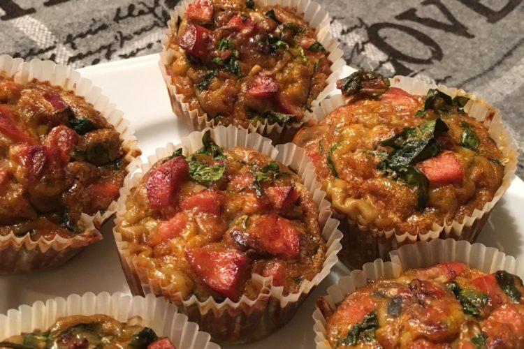Muffiny s čerstvým špenátem a pestem